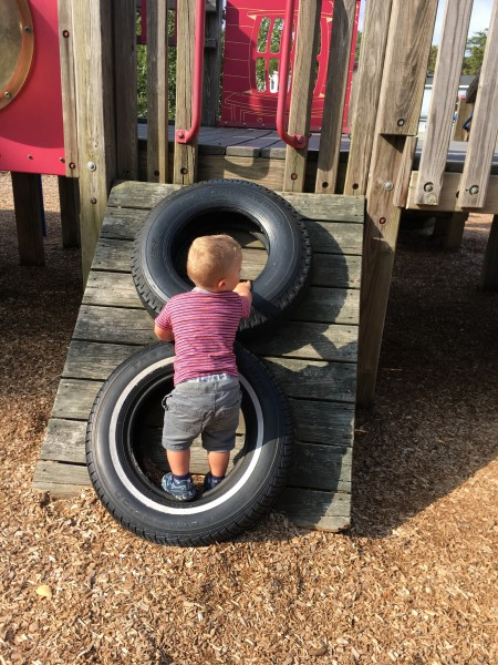 We live near many parks and Cole LOVES to climb.