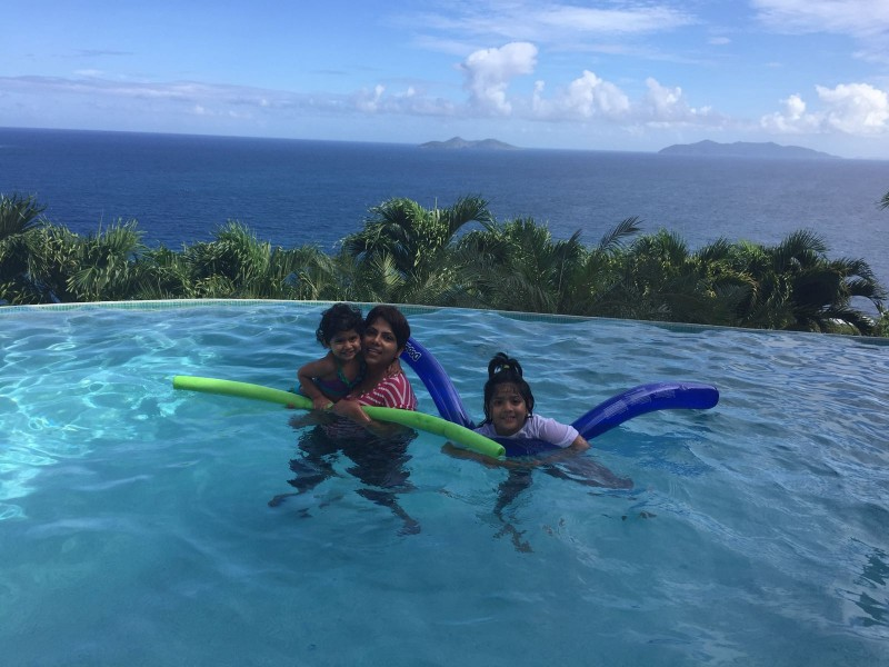 Teaching our godchildren to swim and having a fun time
