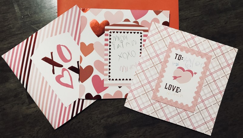 Mama-and-son-made Valentine's Day cards for grandparents and birth fam.
