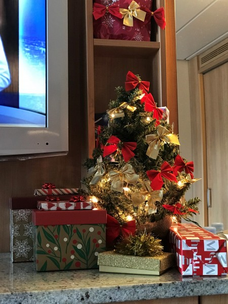 Decorated a tree in our stateroom to get into the holiday spirit!