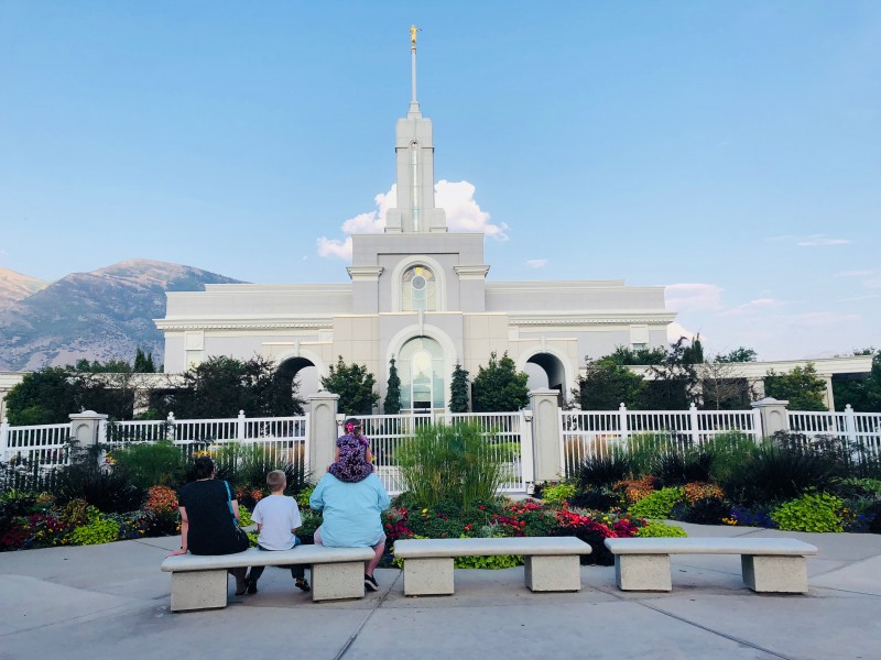 Our family enjoying a peaceful day at the local LDS temple.