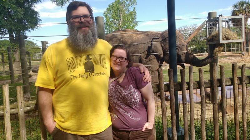 Rachel, Thom, and an elephant