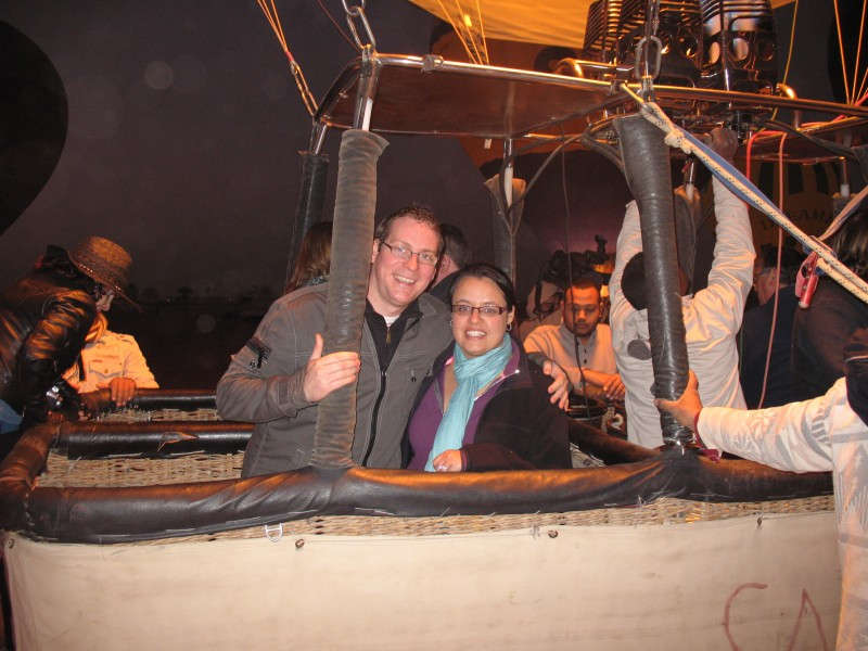 Going up, up, and away in a hot air balloon in Egypt