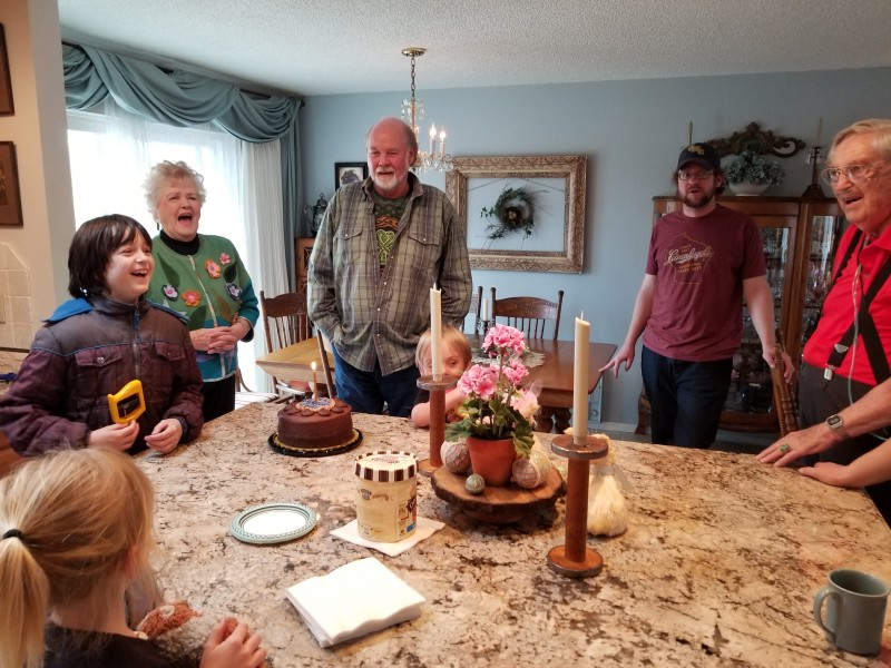 Celebrating Amy's dad's birthday