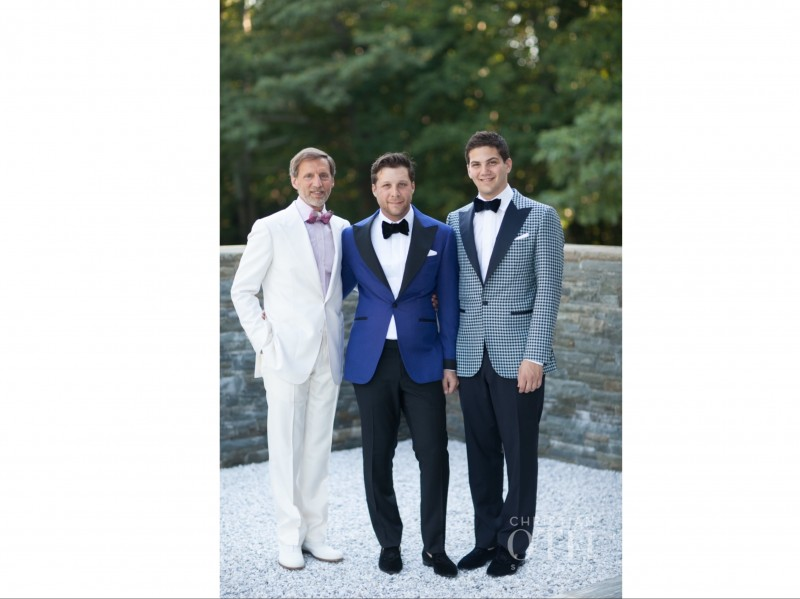 Jason with his brother Ben and father Peter on our wedding Day