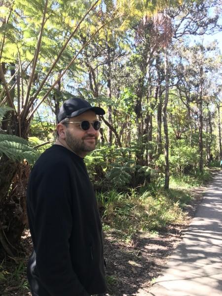 Walking through the volcano rainforest in Hawai'i.