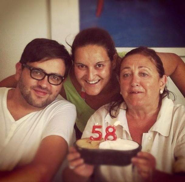 Celebrating Arnau's mother's birthday.