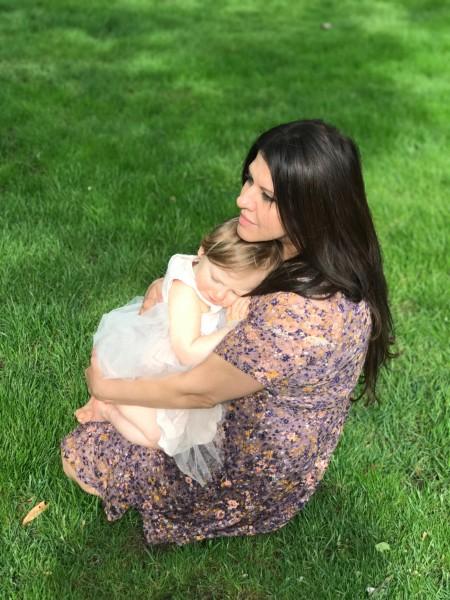 niki with alexa on our lawn