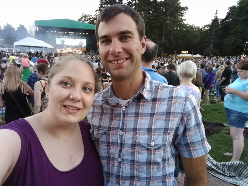 Celebrating our anniversary at the Weezer concert