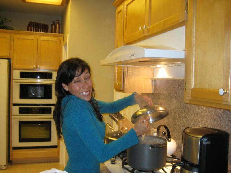 Patricia pretending to cook