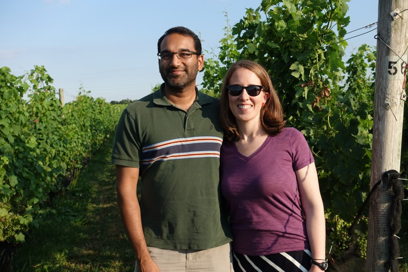 at a vineyard with family