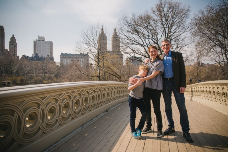 Walking over Bow Bridge in Central Park