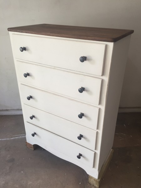 Josh refinished an old dresser to put in our bedroom!