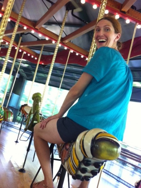 Melissa on the bug carousel at the Bronx Zoo