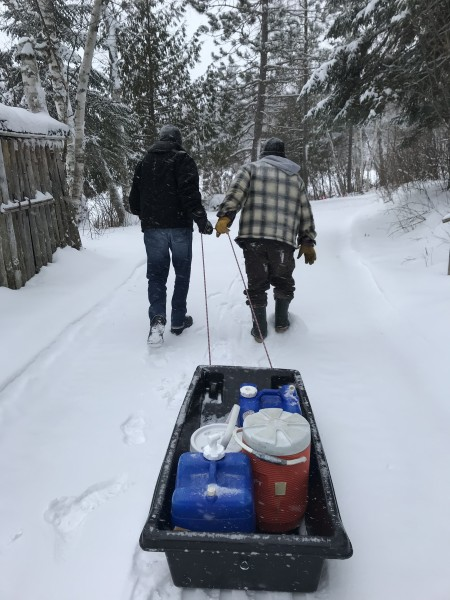 Getting water at the cabin
