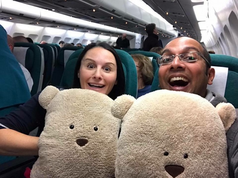 Acting goofy with our travel pillows.