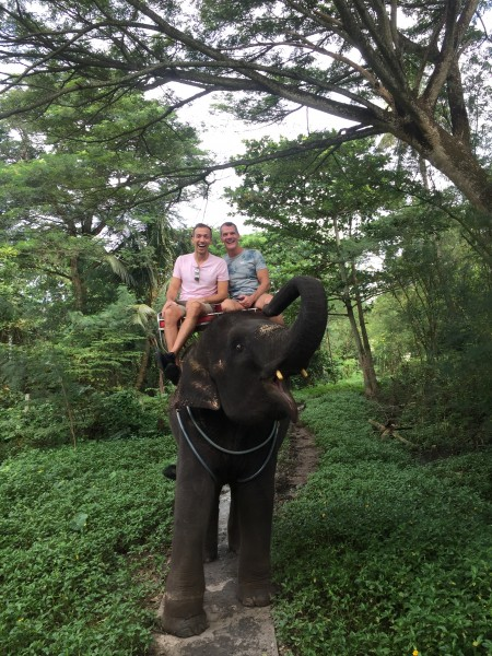Riding an elephant in Thailand!