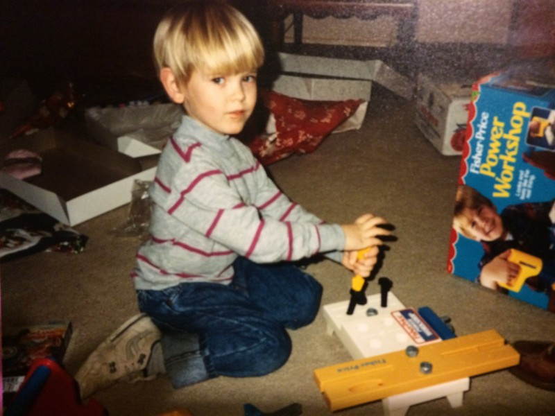 Young Phillip works with his tools
