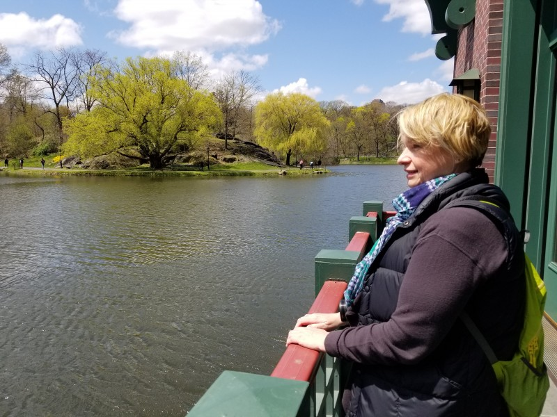 Patty looking out over Harlem Meer