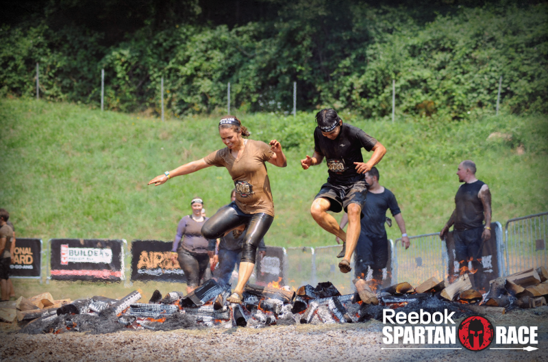 Final Obstacle in this Spartan Race, the Fire Jump.