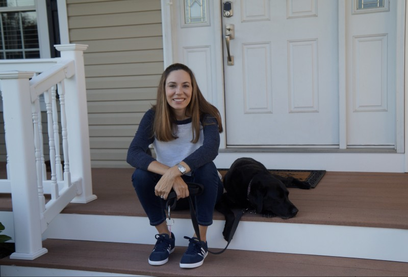 Relaxing on our porch with our dog, Sophie