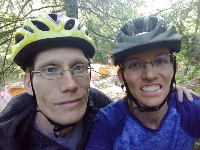 Mountain biking at Copper Falls State Park, Summer 2018