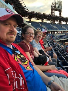 Baseball game with Andrew's family