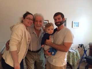 With Erin's grandfather at his home. He has since passed away, but he was very important to her.