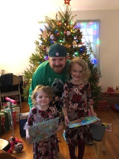 Andrew & our nieces at Christmas