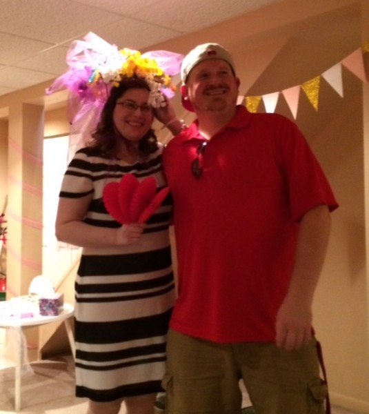 Being silly at our wedding shower!