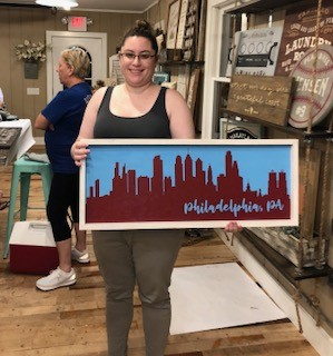Wood/Painting Workshop. Erin made this for Andrew since he LOVES Philadelphia.