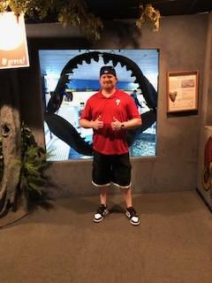 At the aquarium. Andrew was so brave lol.