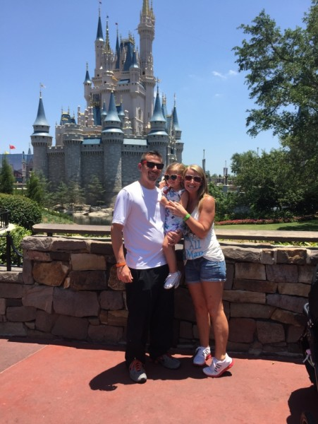In front of Cinderella's Castle at Disney World
