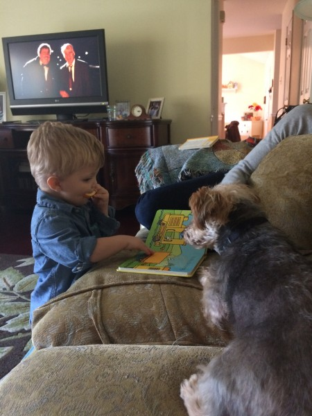 Our nephew teaching Markie to read ;)