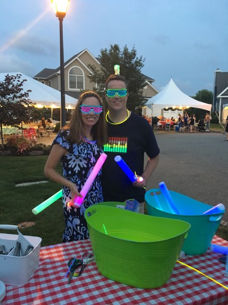 Giving out Glow Stuff to all the kids at our Block Party