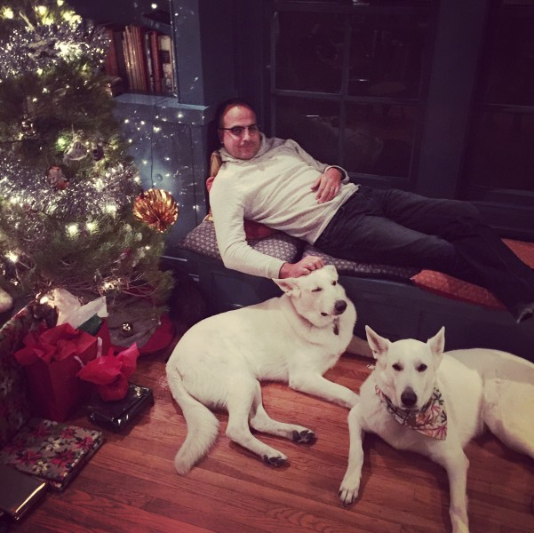 Joseph with the dogs at Christmas