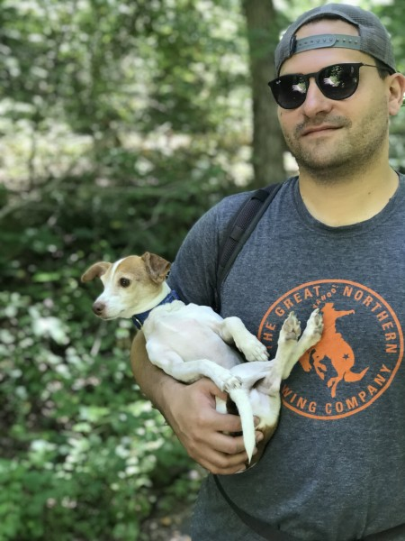 David and Oliver after a hike!