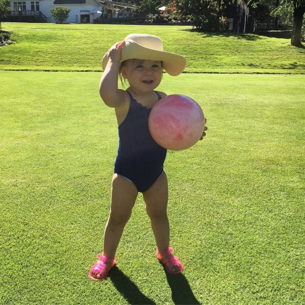 Playing ball at the pool