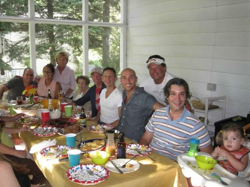 Joe L's family celebrating a birthday.