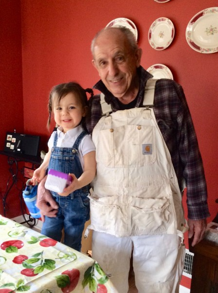 Grandpa and Margot in matching overalls :)