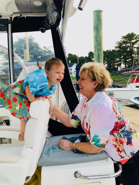 Margot and Nonna on a boat