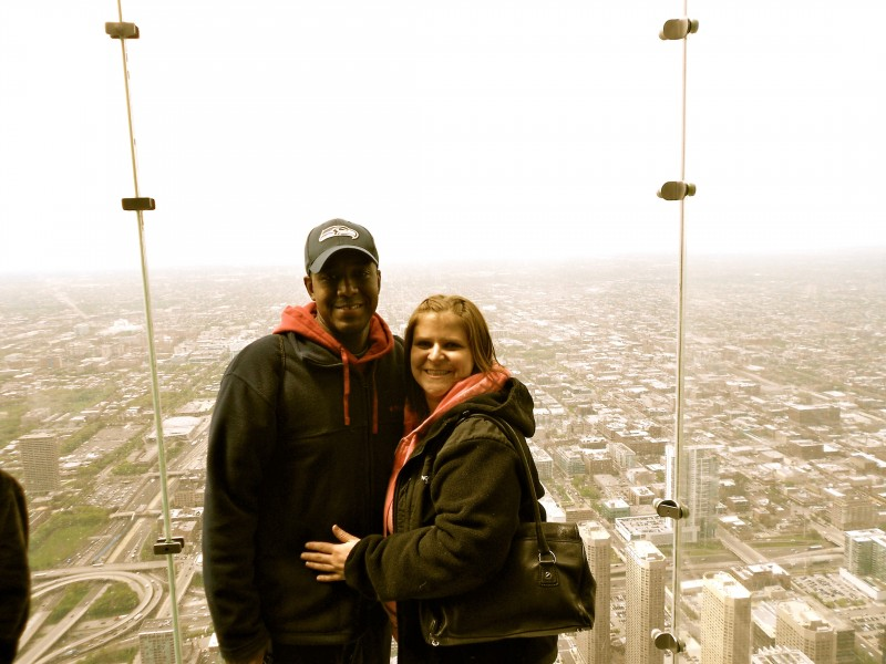 I met Derek only a couple weeks before his birthday when we first started dating. So for our first anniversary I took him to Chicago a place he had always wanted to visit. This is us in the Sears Tower, on a glass floor and surrounded by glass walls.