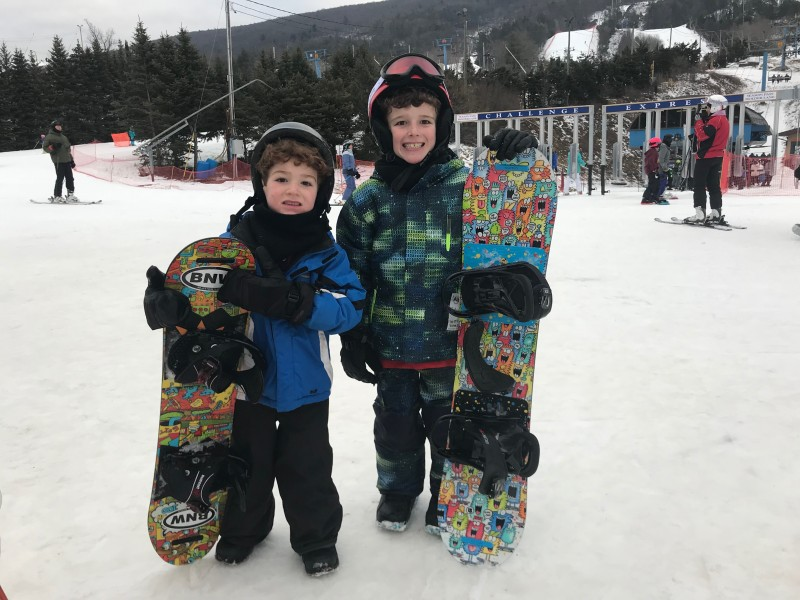 Tristan and Blake learn to snowboard
