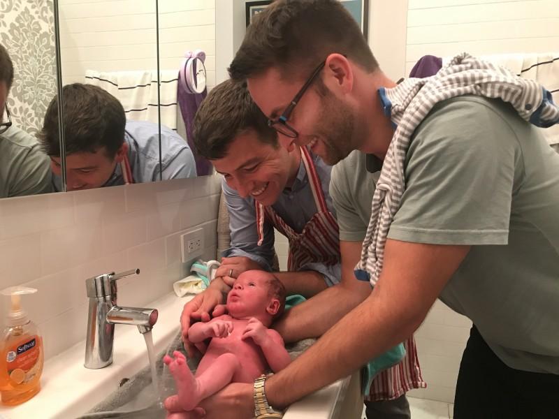 Jack first bath!