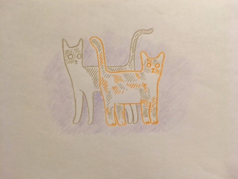 Alan sketched our cats as cartoons.