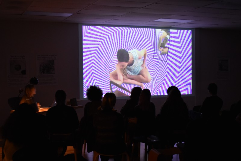 Poetry reading + video art at our office.