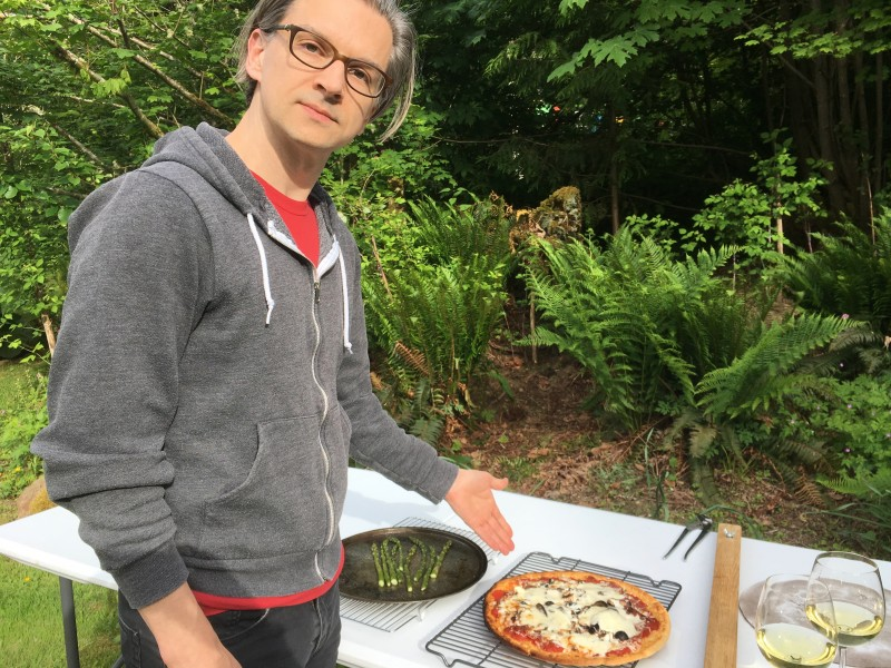 Summer 2018. Found this old pic of Alan at his bday party this summer. Our friends made pizza that we made in his parents' outdoor pizza oven!