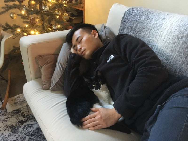 Christmas 2017. Rob's partner napping with Noodles.