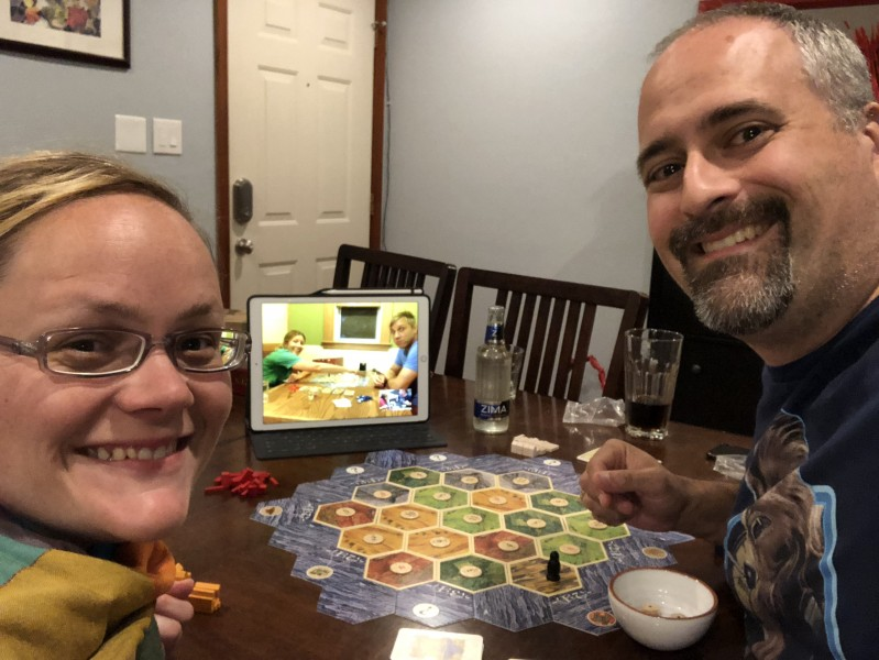 We love to play games. Here we are playing Settlers of Catan via FaceTime with our good friends in Minnesota.