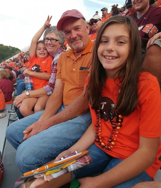 Mom Dad and nieces at VT football game